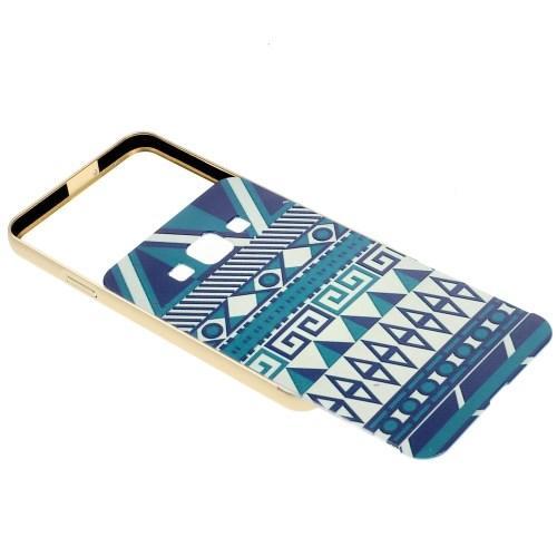 Металлический чехол для Samsung Galaxy A3 с орнаментом Blue Geometric Pattern