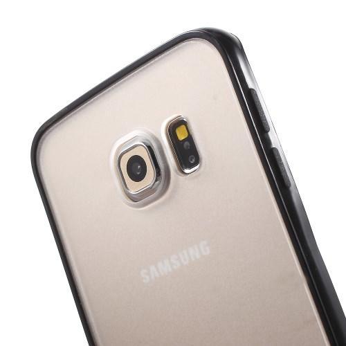 Гибридный чехол для Samsung Galaxy S6 Edge Прозрачный матовый и Черный