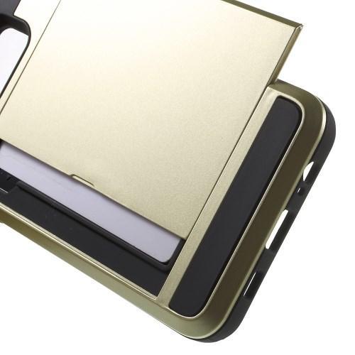 Защитный чехол с отделением для карточки для Samsung Galaxy S6 Edge+ золотой