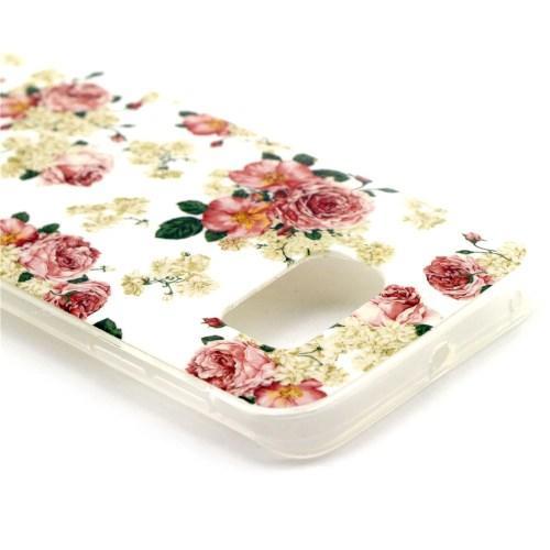 Силиконовый чехол для Samsung Galaxy S6 edge White and Rose Flowers