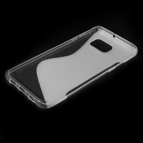 Силиконовый чехол для Samsung Galaxy S6 edge+ прозрачный S-образный
