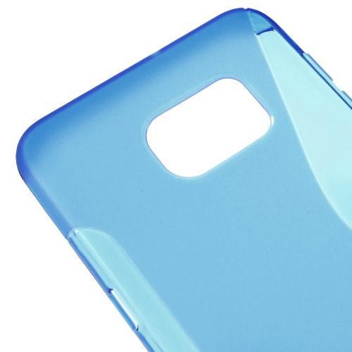 Силиконовый чехол для Samsung Galaxy S6 edge+ синий S-образный