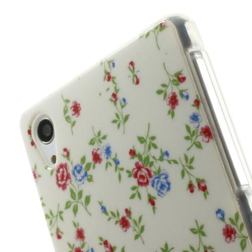 Силиконовый чехол для Sony Xperia Z2 Blue&Red Flowers