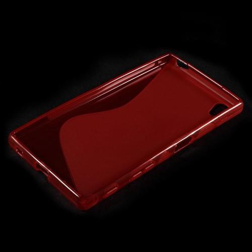 Силиконовый чехол для Sony Xperia Z5 красный S-образный