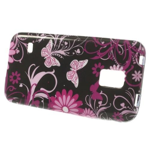 Силиконовый чехол для Samsung Galaxy S5 mini Black Flower Butterfly