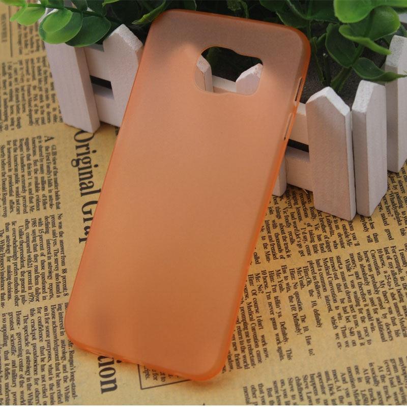 Ультратонкий пластиковый чехол для Samsung Galaxy S6 Edge оранжевый