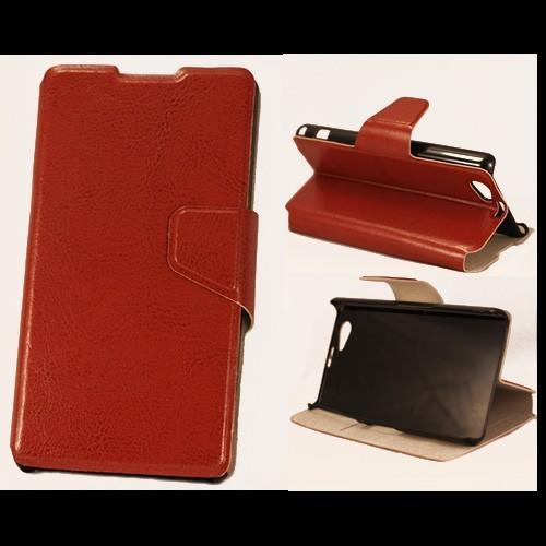 Чехол книжка для Sony Xperia Z1 Compact коричневый
