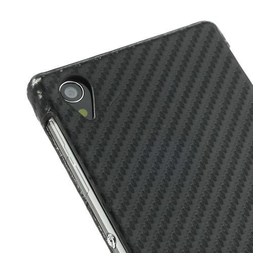 Флип чехол книжка с откидыванием вниз вертикальный для Sony Xperia Z1 черный карбоновый