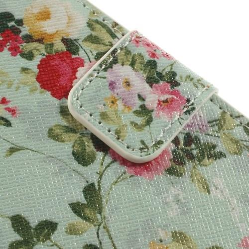 Чехол книжка для Samsung Galaxy S5 mini Mint Flower Pattern