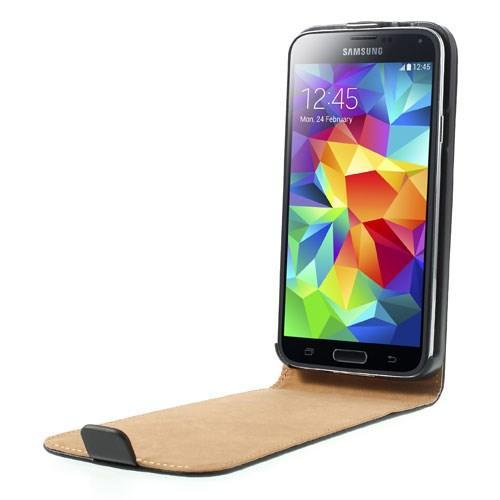 Кожаный чехол книжка для Samsung Galaxy S5 черный