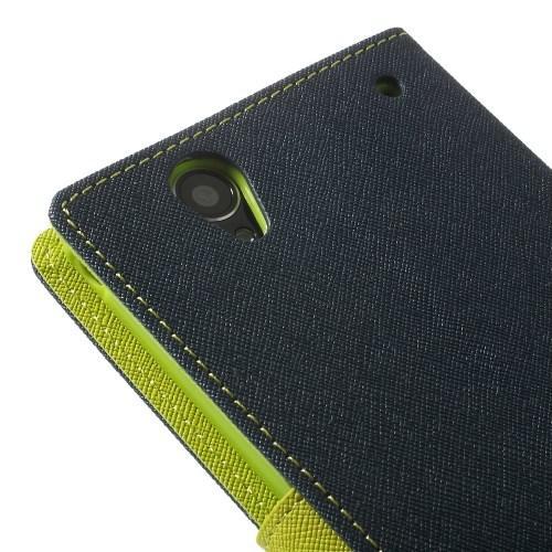 Flip чехол книжка для Sony Xperia T2 Ultra темно синий и зеленый Mercury CaseOn
