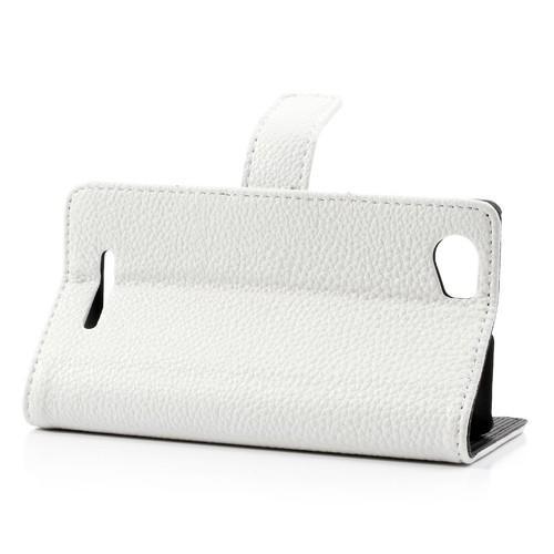 Кожаный чехол книжка для Sony Xperia M белый