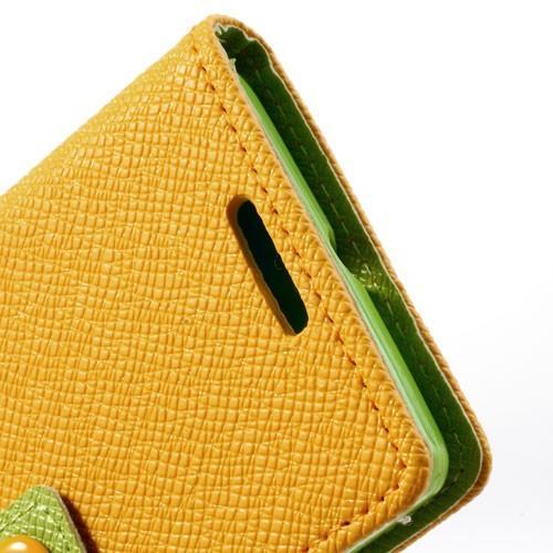 Кожаный чехол книжка для Sony Xperia M желтый