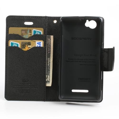 Кожаный чехол книжка для Sony Xperia M черный