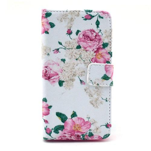 Чехол книжка для Sony Xperia Z1 Compact орнамент White&Rose Flowers