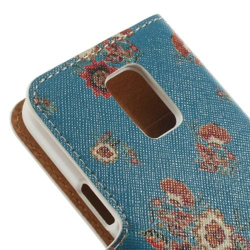 Чехол книжка для Samsung Galaxy S5 mini Blue with Flower