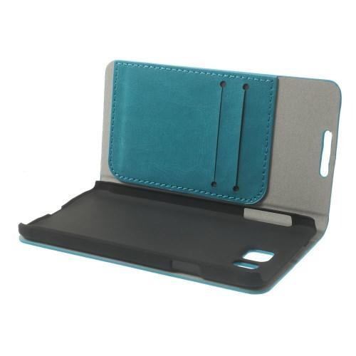 Чехол книжка для Samsung Galaxy Alpha голубой