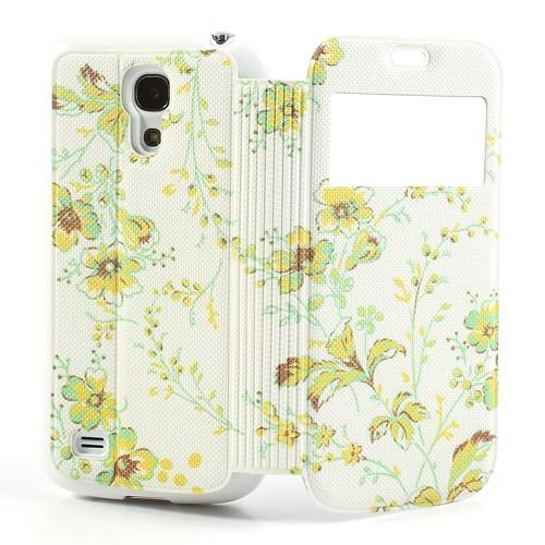 Flip чехол книжка для Samsung Galaxy S4 mini Green Flowers