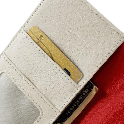 Кожаный чехол книжка для HTC One M8 белый
