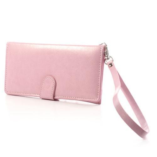 Кожаный чехол-футляр для смартфона розовый цвет