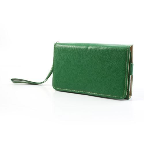 Чехол-футляр с функцией кошелька для смартфона зеленый цвет