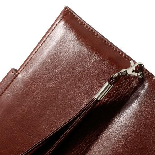 Кожаный чехол-футляр для смартфона коричневый цвет KANUODENG