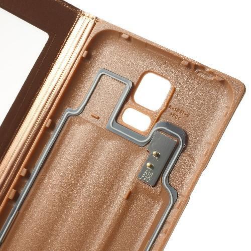 Чехол книжка для Samsung Galaxy S5 с функцией окна золотой