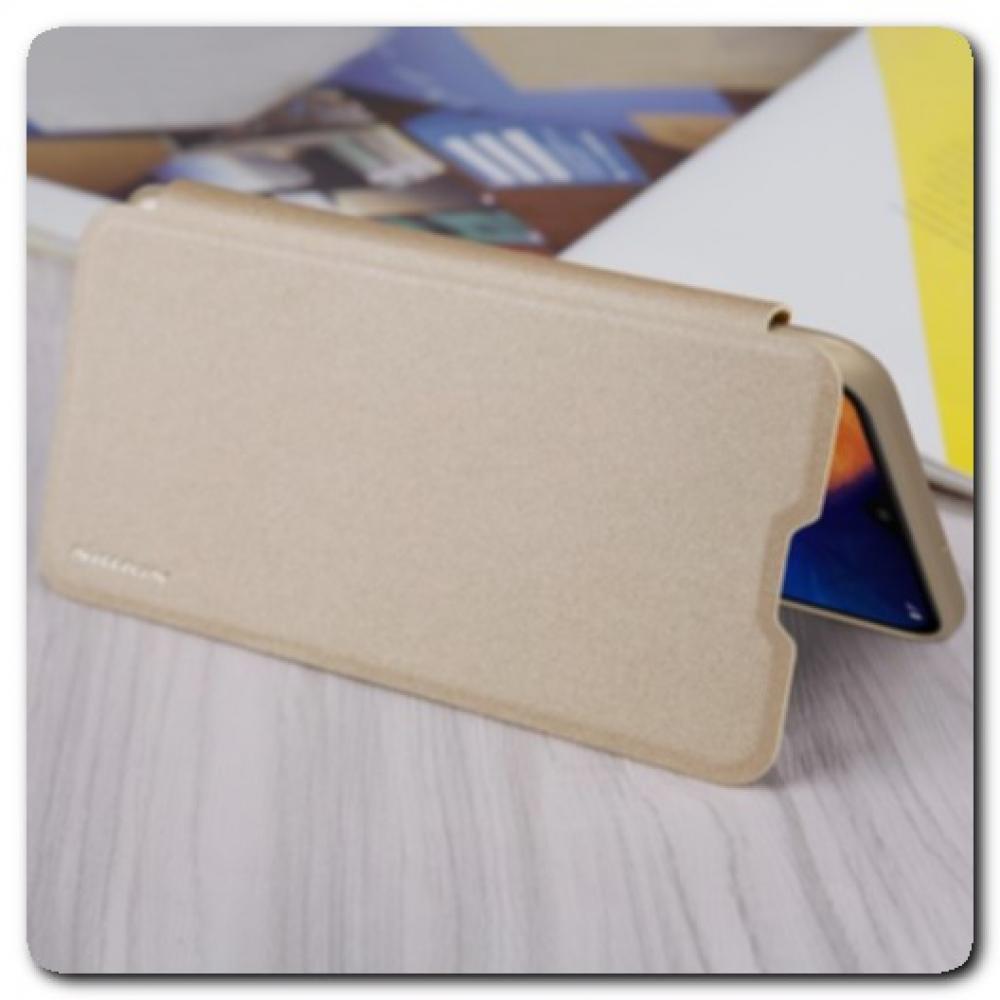 Блестящий Чехол Книжка Nillkin Sparkle из Жесткой Износоустойчивой Экокожи для Samsung Galaxy A10 Черный