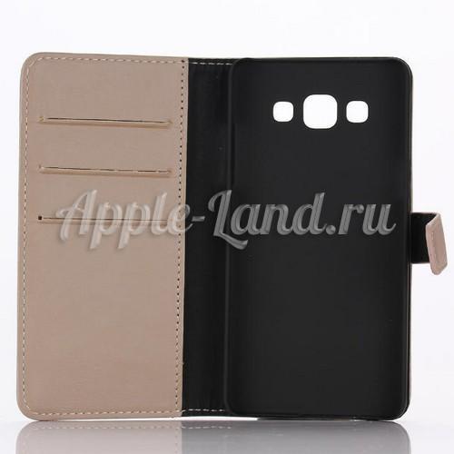 Кожаный чехол книжка для Samsung Galaxy A5, Galaxy A5 Duos - Бежевый