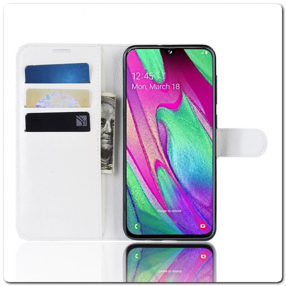 Чехол Книжка Book Wallet с Визитницей и Кошельком для Samsung Galaxy A40 Белый
