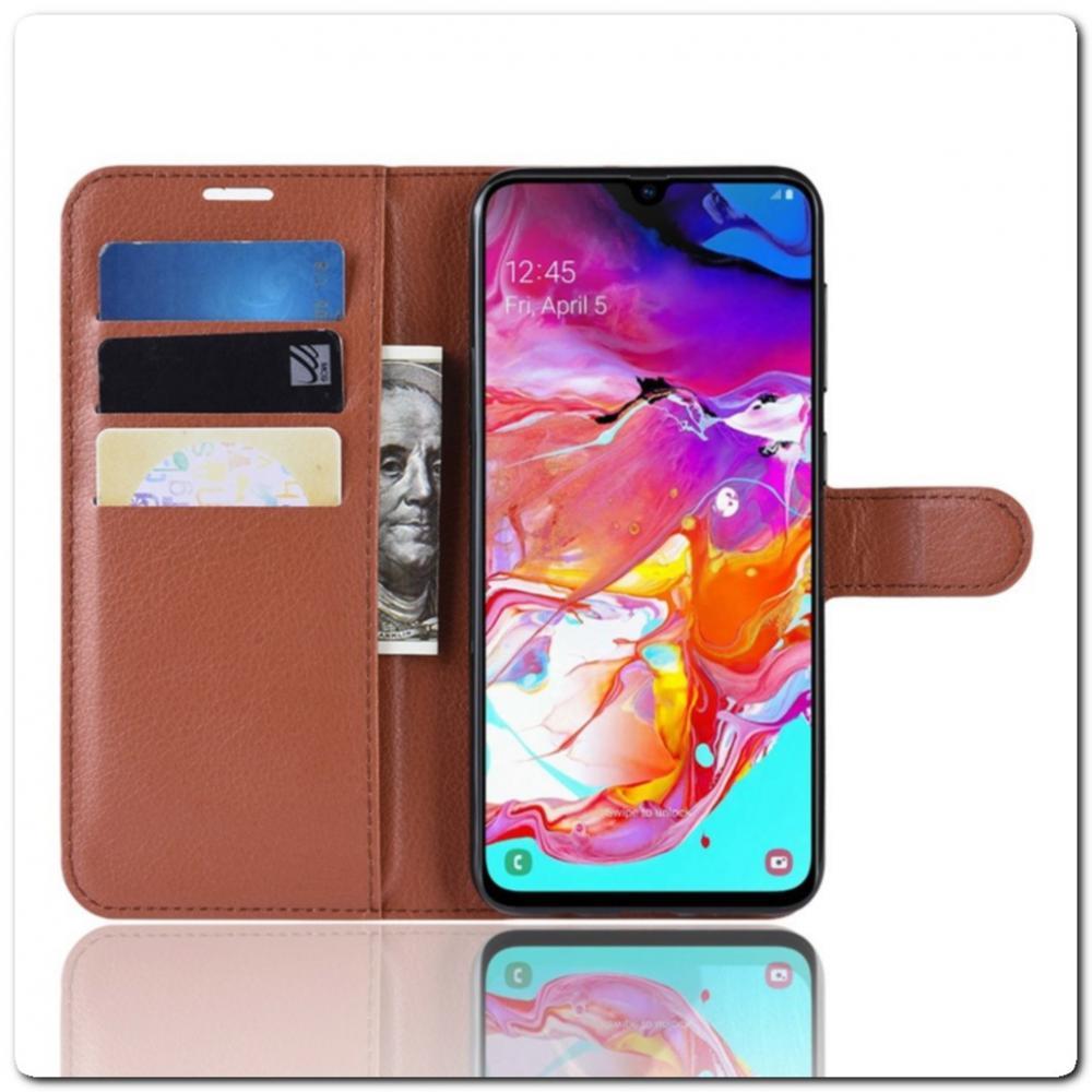 Чехол Книжка Book Wallet с Визитницей и Кошельком для Samsung Galaxy A70 Коричневый