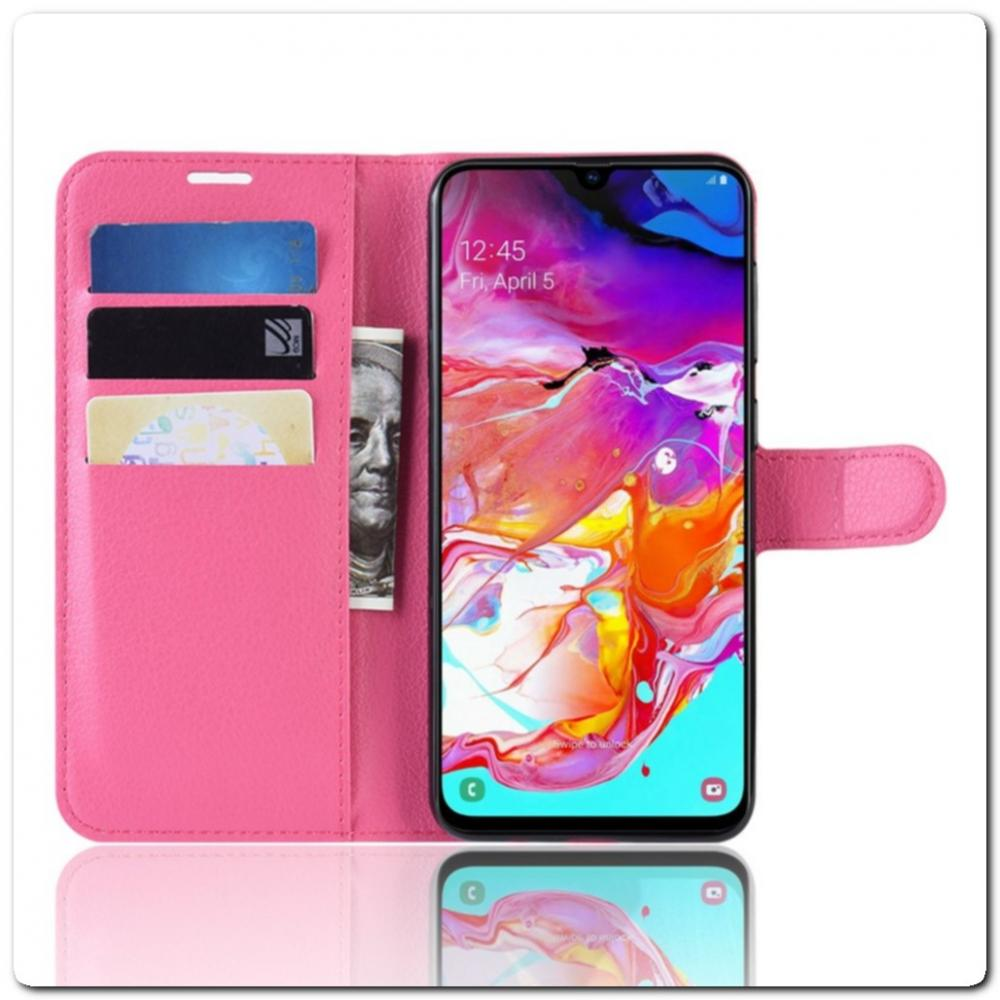 Чехол Книжка Book Wallet с Визитницей и Кошельком для Samsung Galaxy A70 Ярко-Розовый