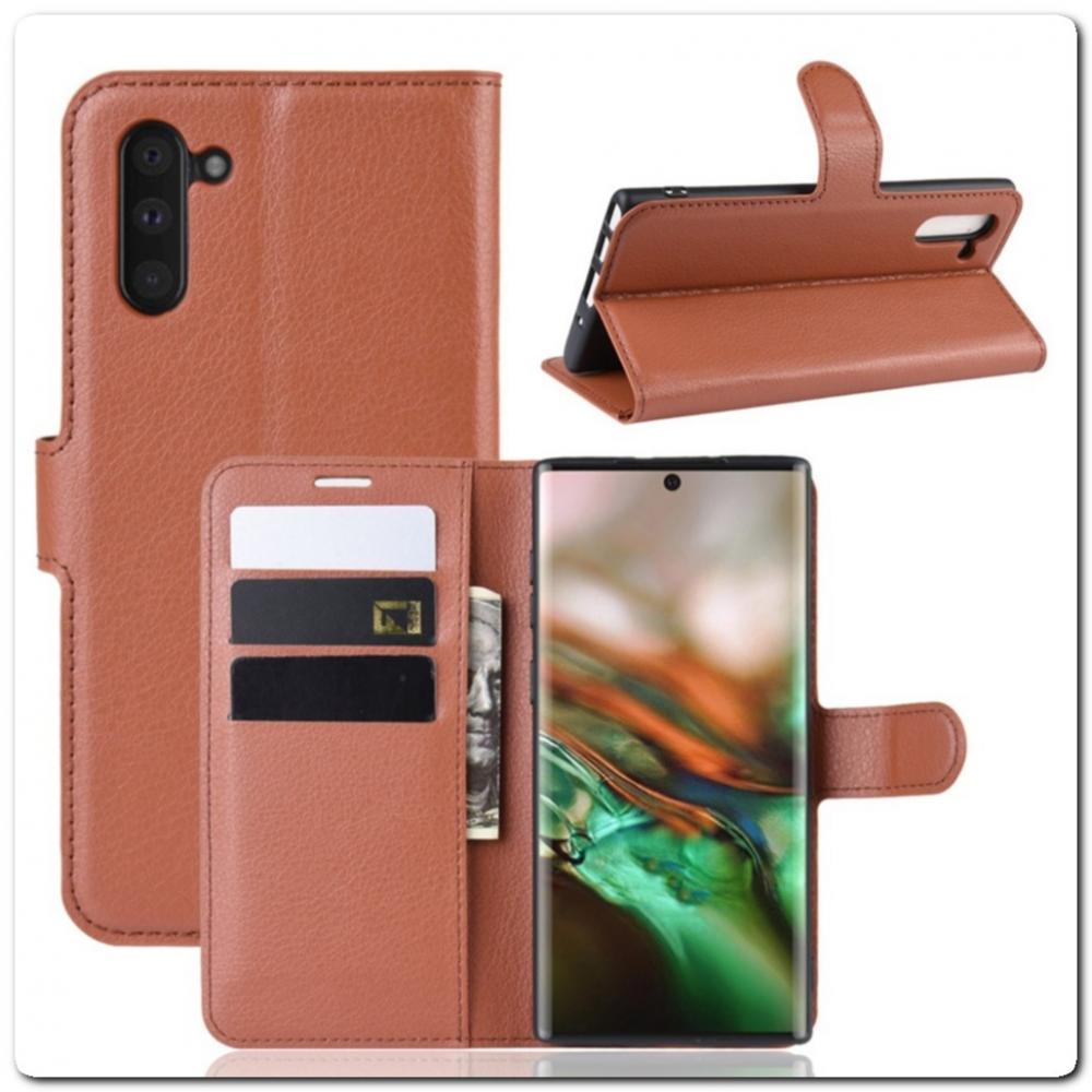 Чехол Книжка Book Wallet с Визитницей и Кошельком для Samsung Galaxy Note 10 Коричневый