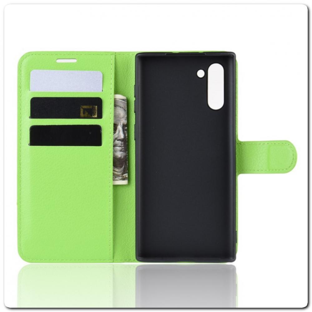 Чехол Книжка Book Wallet с Визитницей и Кошельком для Samsung Galaxy Note 10 Зеленый
