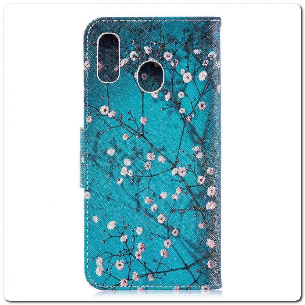 Чехол Книжка Color Wallet с Магнитным Язычком для Samsung Galaxy A30 / Galaxy A20 с Рисунком Дерево С Цветами