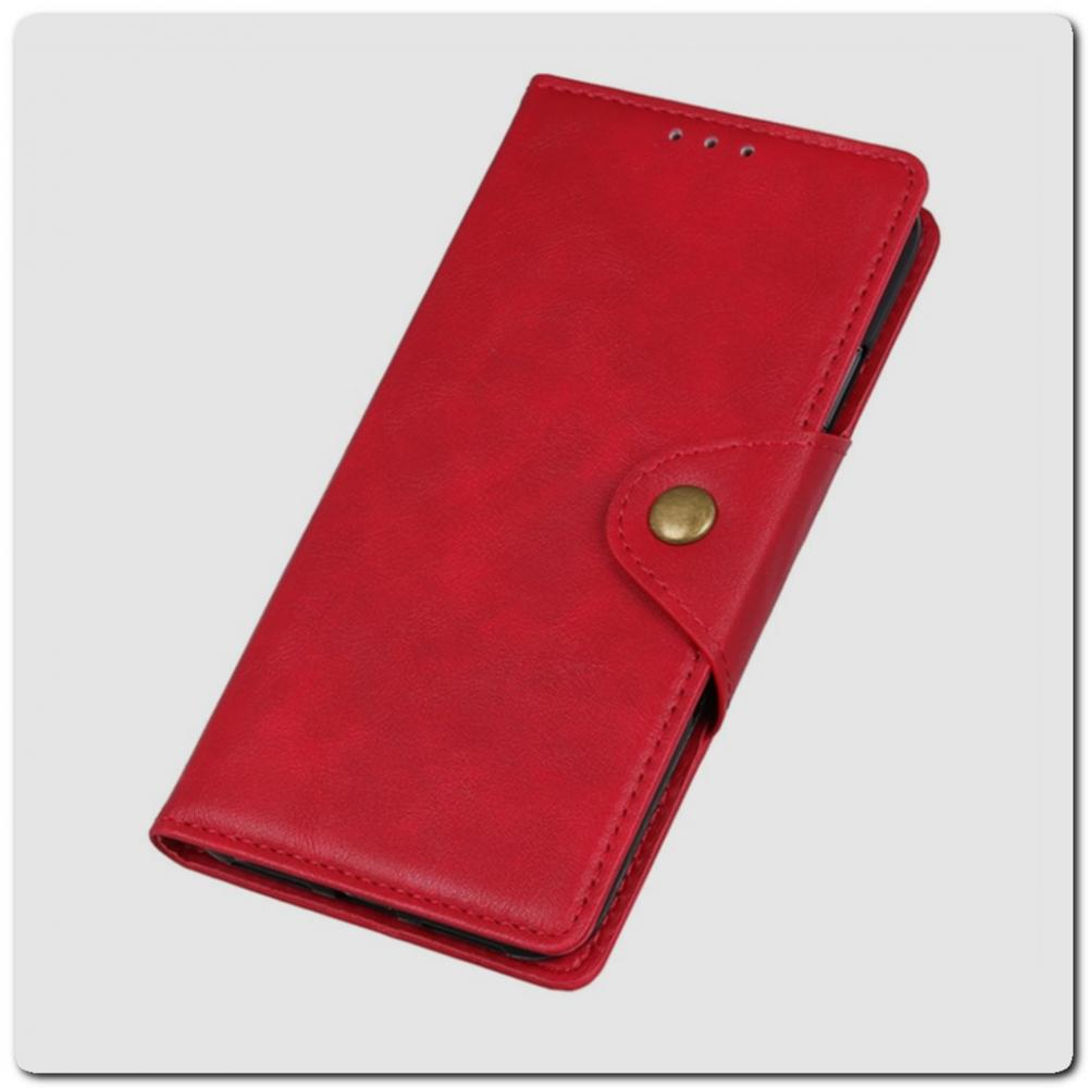 Чехол Книжка Flip Wallet с Отделениями для Карт на Samsung Galaxy A10 Красный