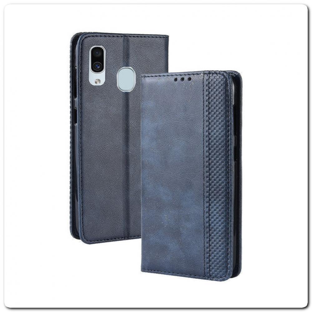 Чехол Книжка с Скрытыми Магнитами Авто Закрытие для Samsung Galaxy A30 / Galaxy A20 Синий