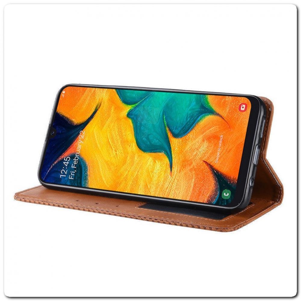 Чехол Книжка с Скрытыми Магнитами Авто Закрытие для Samsung Galaxy A40 Коричневый