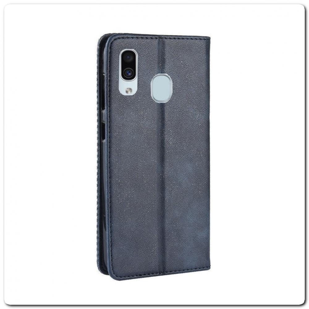 Чехол Книжка с Скрытыми Магнитами Авто Закрытие для Samsung Galaxy A40 Синий