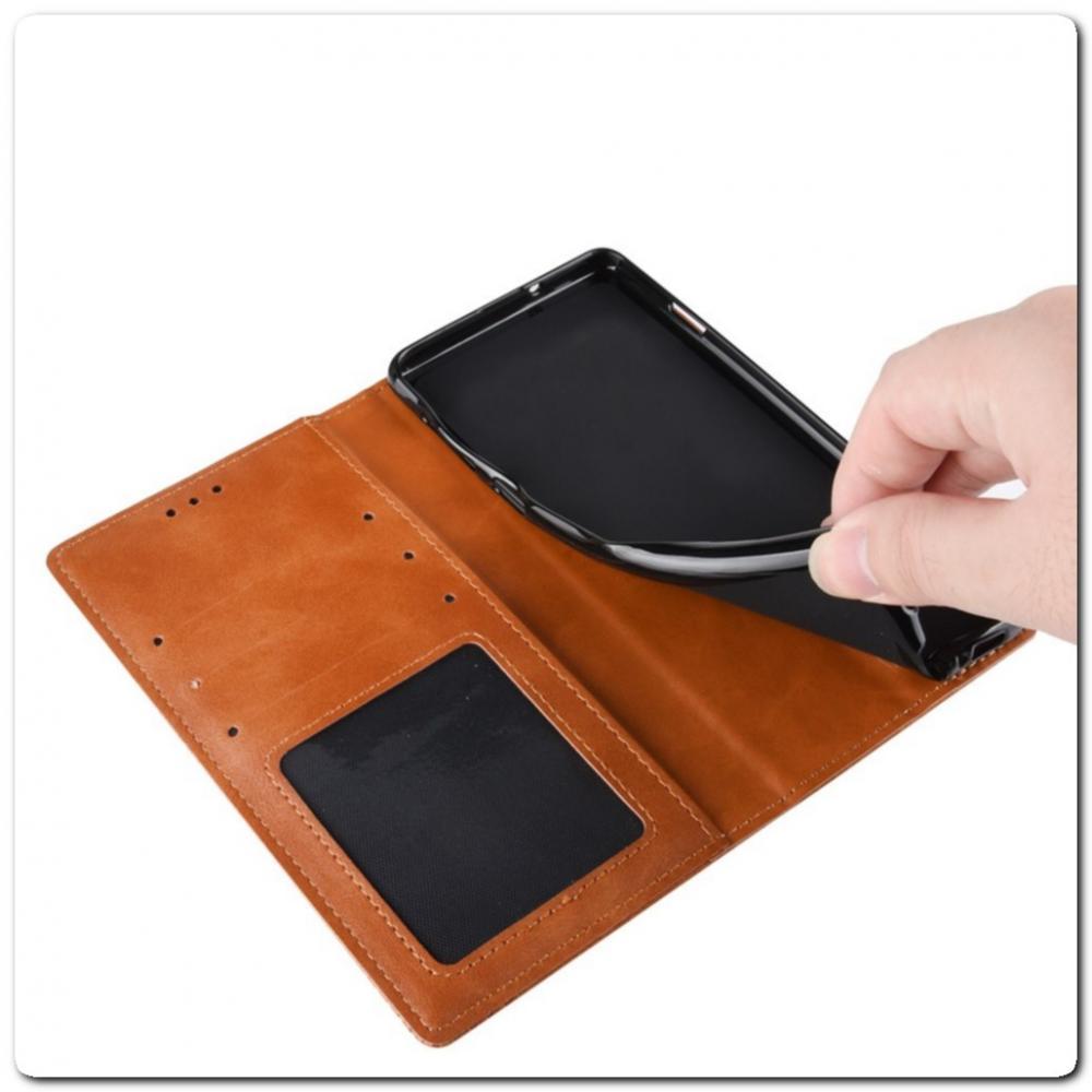 Чехол Книжка с Скрытыми Магнитами Авто Закрытие для Samsung Galaxy A80 Коричневый