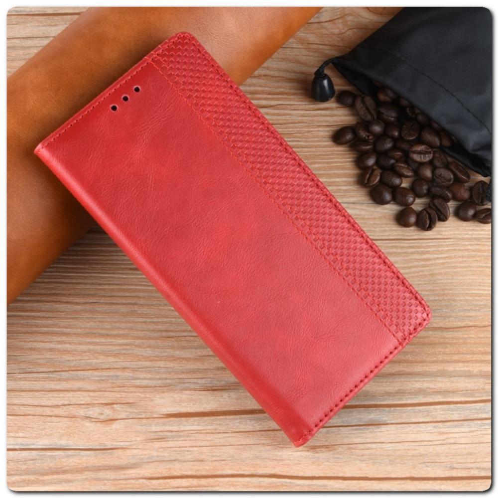 Чехол Книжка с Скрытыми Магнитами Авто Закрытие для Samsung Galaxy Note 10 Красный