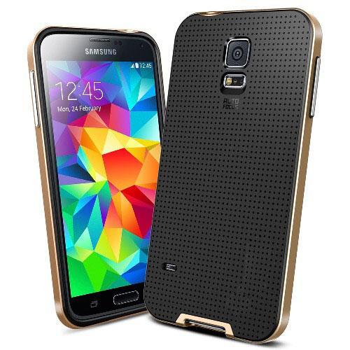 Противоударный гибридный чехол для Samsung Galaxy S5 Gold