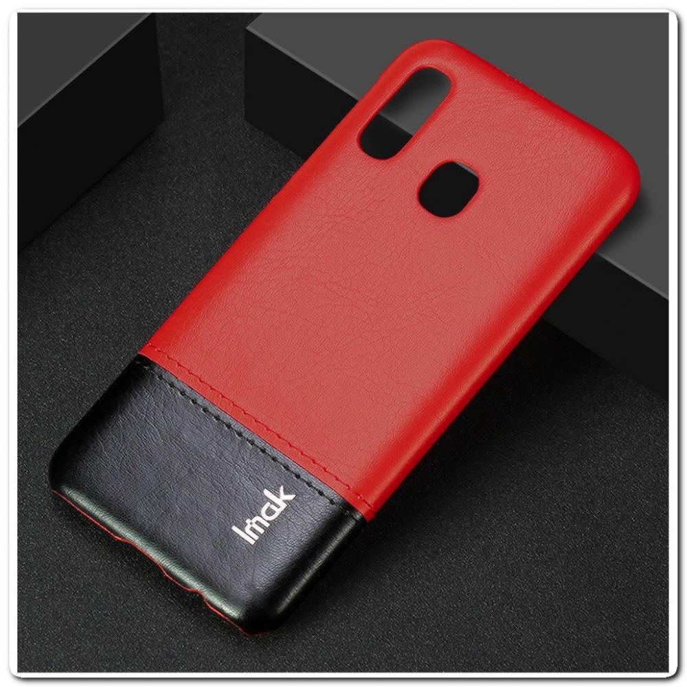 IMAK Ruiy PU Кожаный Чехол из Ударопрочного Пластика для Samsung Galaxy A40 - Черный