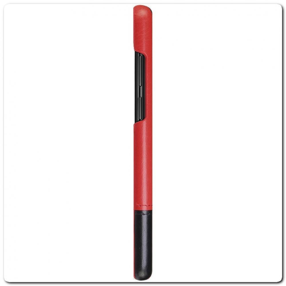 IMAK Ruiy PU Кожаный Чехол из Ударопрочного Пластика для Samsung Galaxy A50 - Красный / Черный