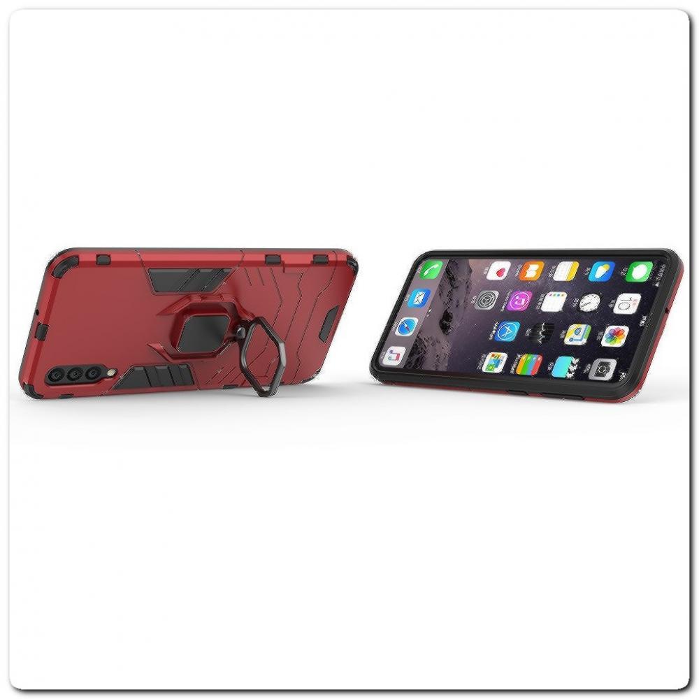 Противоударный Чехол Hybrid Ring с Кольцом для Samsung Galaxy A50 и Металлической Пластиной для Магнитного Держателя Красный