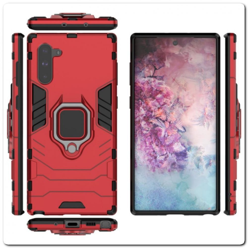 Противоударный Чехол Hybrid Ring с Кольцом для Samsung Galaxy Note 10 и Металлической Пластиной для Магнитного Держателя Красный