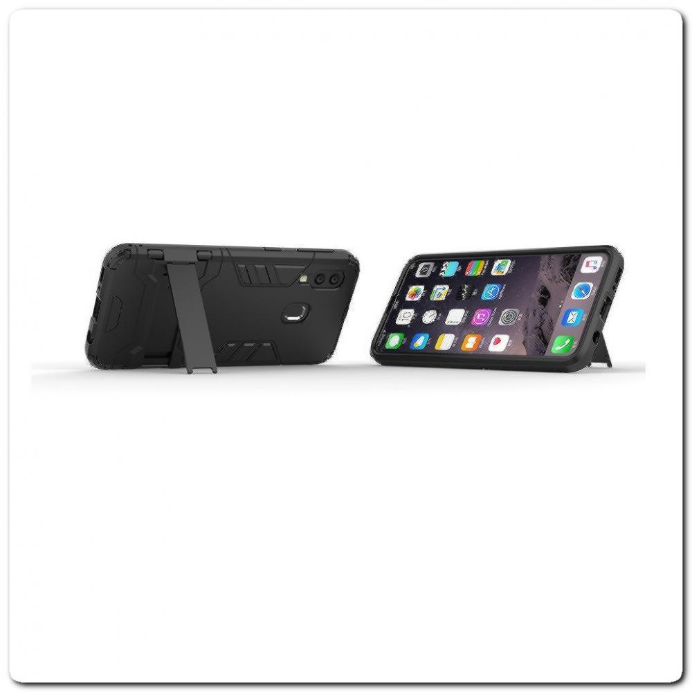 Противоударный Пластиковый Двухслойный Защитный Чехол для Samsung Galaxy A40 с Подставкой Черный
