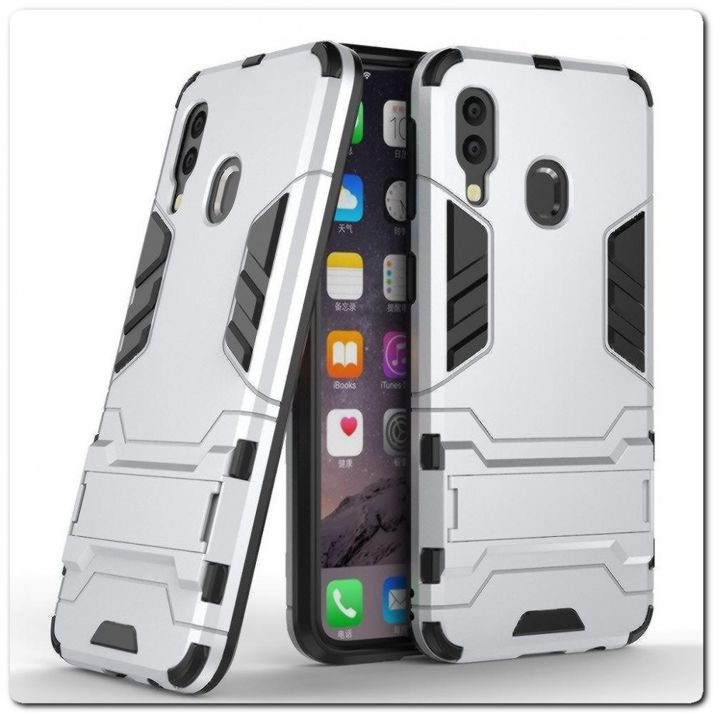 Противоударный Пластиковый Двухслойный Защитный Чехол для Samsung Galaxy A40 с Подставкой Серебряный