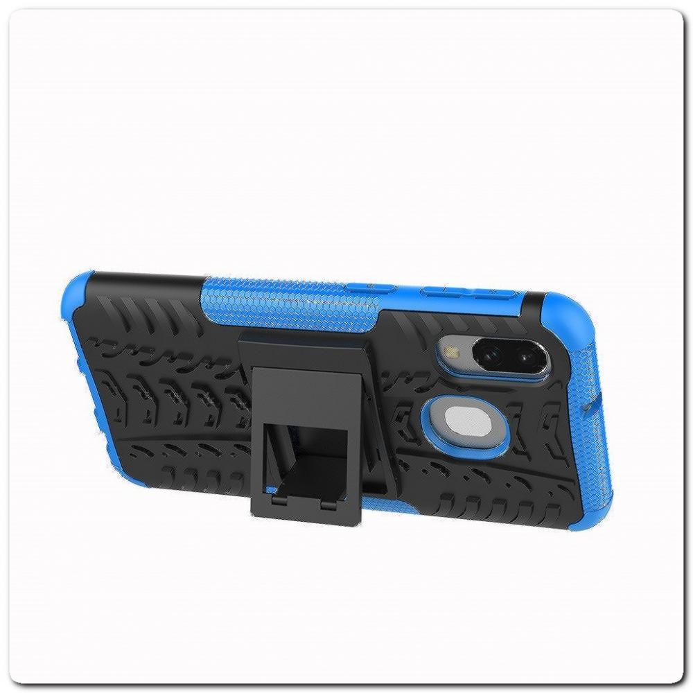 Противоударный Усиленный Ребристый Hybrid Tyre Защитный Чехол для Samsung Galaxy A40 с Подставкой Синий
