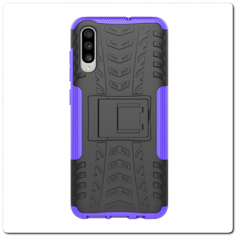 Противоударный Усиленный Ребристый Hybrid Tyre Защитный Чехол для Samsung Galaxy A70 с Подставкой Фиолетовый